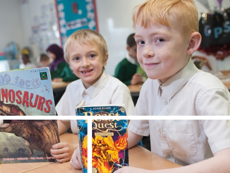 Pupils reading books in a lesson at River View Primary School