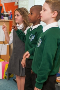 Pupils singing at River View Primary School