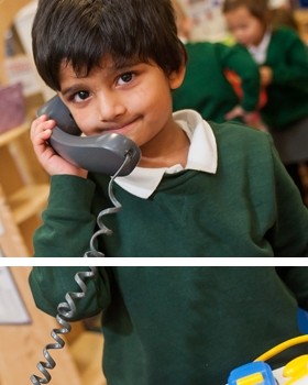 A pupil on the telephone at River View Primary School