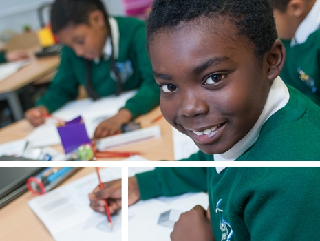 Pupils writing in a lesson at River View Primary School