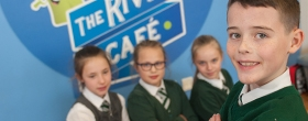 Pupils at The River View Cafe in River View Primary School