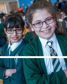 Two pupils smiling at River View Primary School