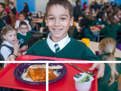 A pupil at lunch time at River View Primary School