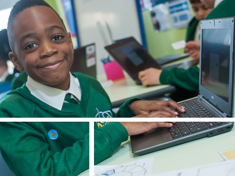 A pupil working on a computer River View Primary School