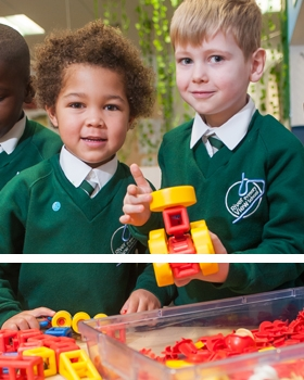 Pupils playing with toys at River View Primary School