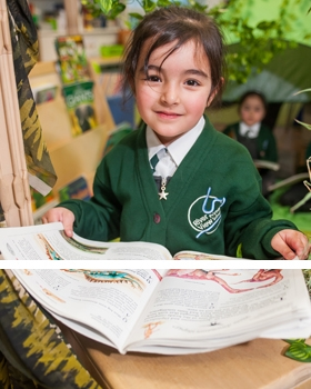 A pupil reading at River View Primary School
