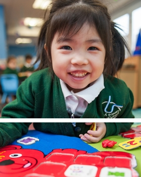 A pupil playing at River View Primary School
