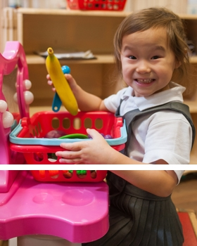 A pupil playing with toys at River View Primary School