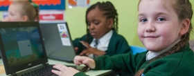 Pupils working on computers at River View Primary School