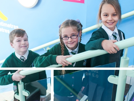 Pupils on the staircase at River View Primary School