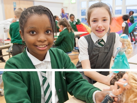 Pupils playing at River View Primary School