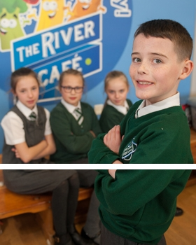 Pupils in The River View Cafe at River View Primary School