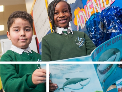 Pupils reading at River View Primary School