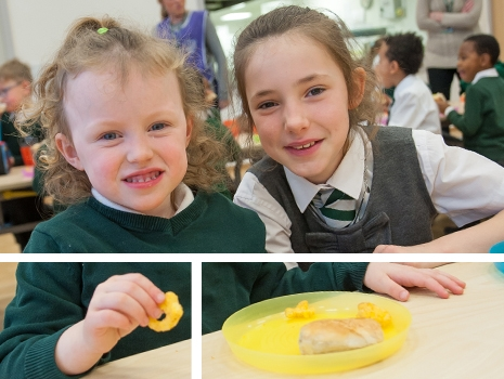 Pupils at River View Primary School eating lunch