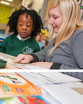 A pupil and a teacher reading a book at River View Primary School