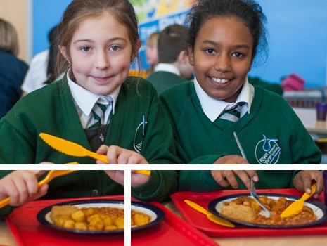 Pupils eating at lunchtime at River View Primary School