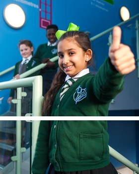 Thumbs up from a pupil at River View Primary School