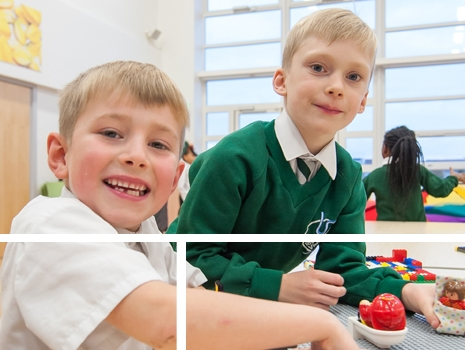 Pupils playing in the before school club at River View Primary School