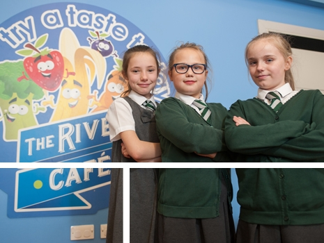 The River Cafe wall graphics and pupils at River View Primary School