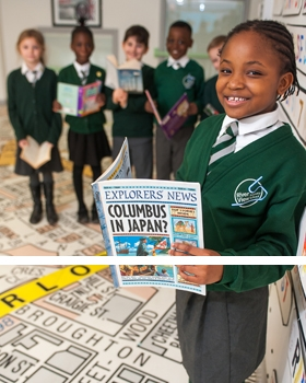 Pupils reading books at River View Primary School