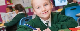 A pupil working at River View Primary School