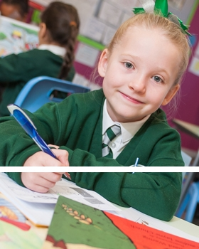 Pupil working in a classroom at River View Primary School