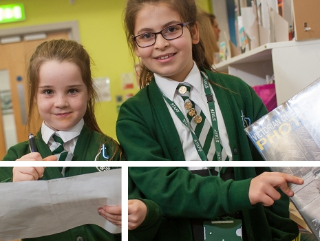 Pupils searching through books to read at River View Primary School