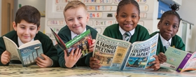 Pupils at River View Primary School reading